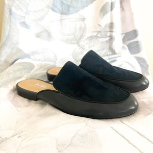 Navy Suede Mules